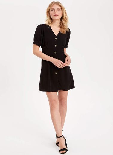 DeFacto V Yakalı Düğmeli Elbise Siyah